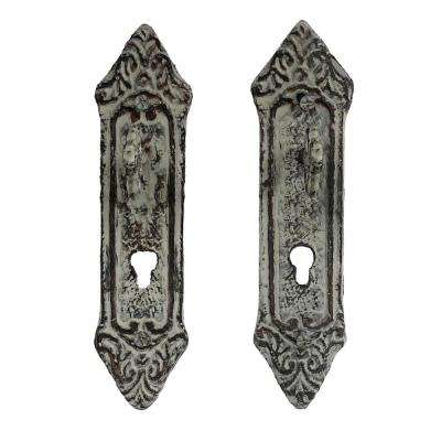 Cast Iron Rustic Decorative Key in Lock Wall Mount Hooks (2-Pack) in White