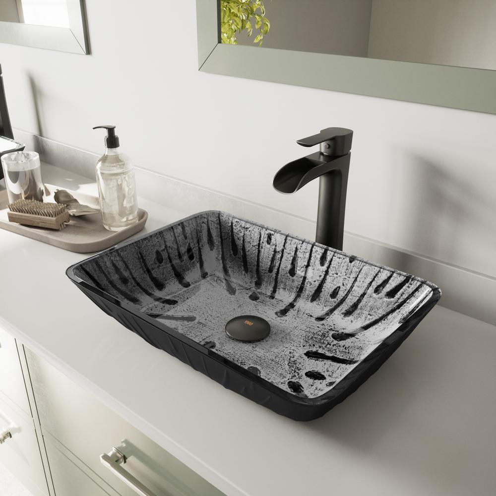 Vigo Glass Vessel Sink In Plutonian Grey With Niko Vessel Faucet In