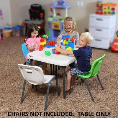 Children's 24 in. W Square Folding Table in Almond