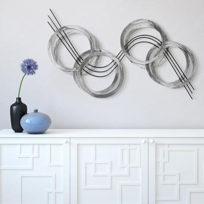 """""""Flowing"""" Hand Painted Etched Metal Wall Sculpture 46.9 in. x 25.2 in."""
