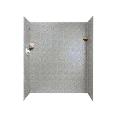 36 in. x 60 in. x 72 in. 3-piece Easy Up Adhesive Alcove Shower Surround in Gray Granite