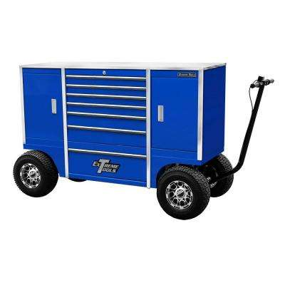 70 in. 7-Drawer 2-Compartment Pit Box with Stainless Steel Work Surface and Hand-Controlled Disc Brake, Blue