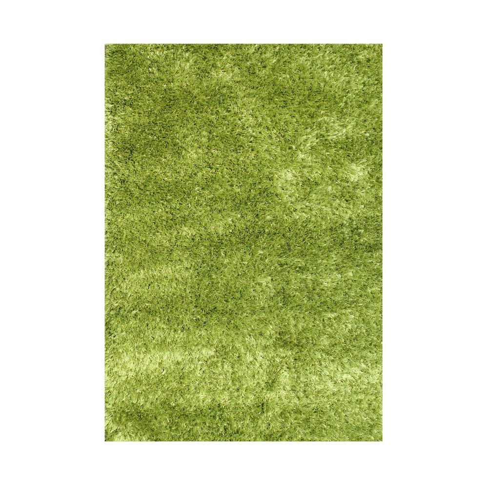 Green 5 Ft. X 8 Ft. Handmade Art Silk Shaggy Area Rug