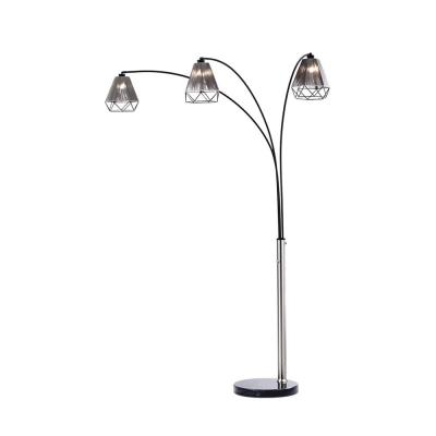 Polygon 88 in. 3-Light Brushed Nickel Arc Lamp