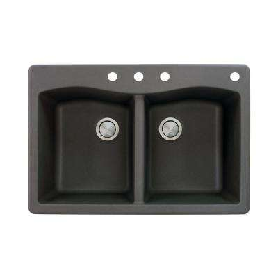 Aversa Drop-in Granite 33 in. 4-Hole Equal Double Bowl Kitchen Sink in Black