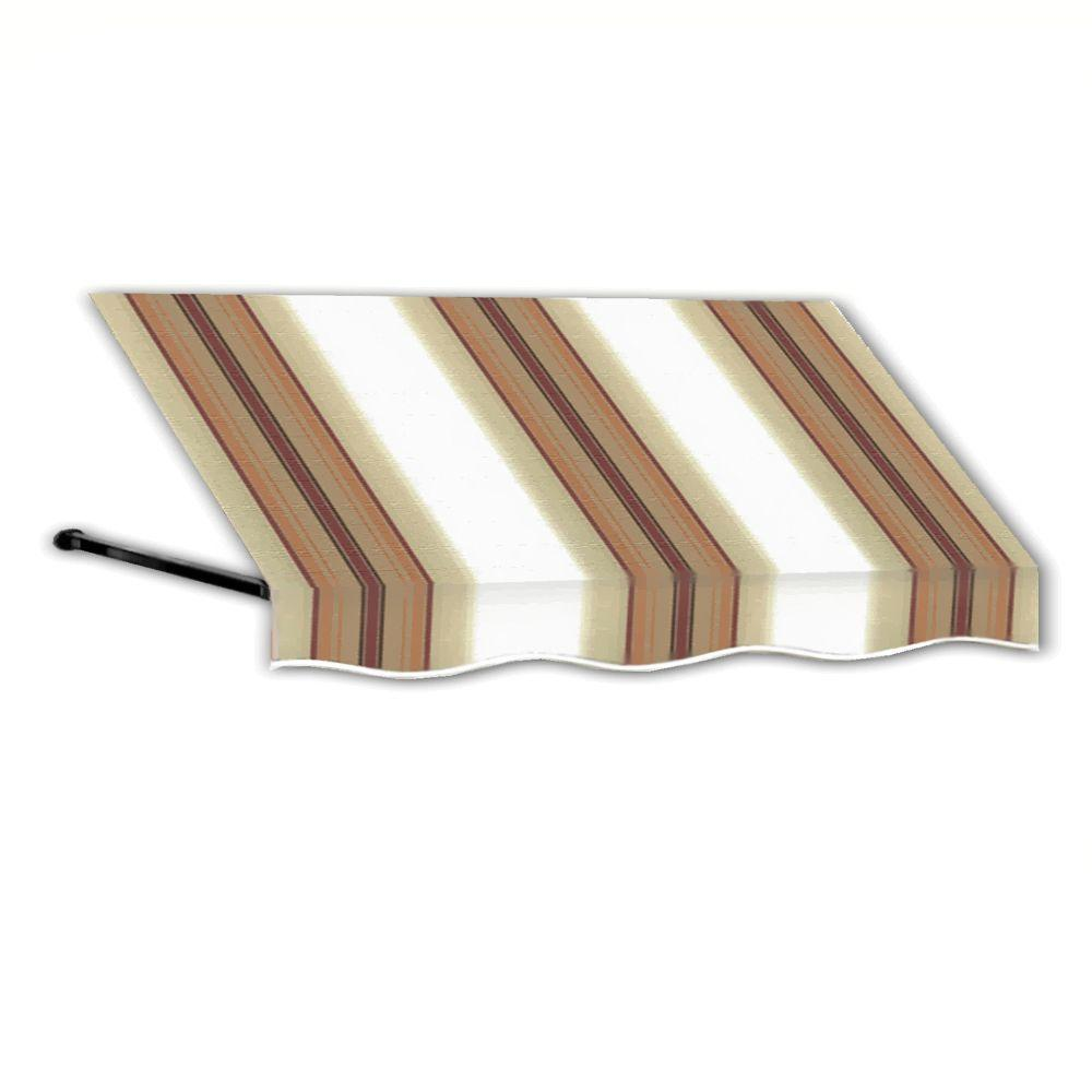 AWNTECH 4 ft. Dallas Retro Window/Entry Awning (24 in. H x 36 in. D) in White/Linen/Terra Cotta Stripe