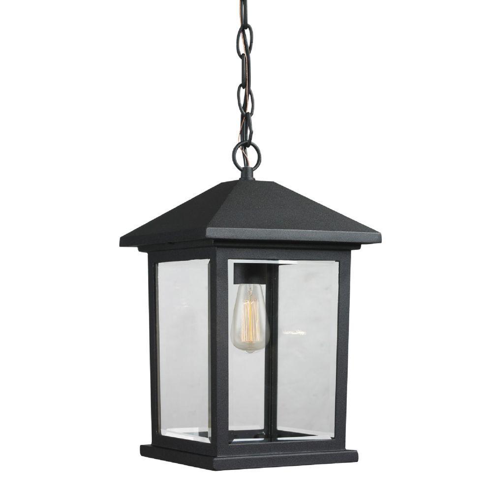 Malone 1-Light Black Outdoor Hanging Lantern