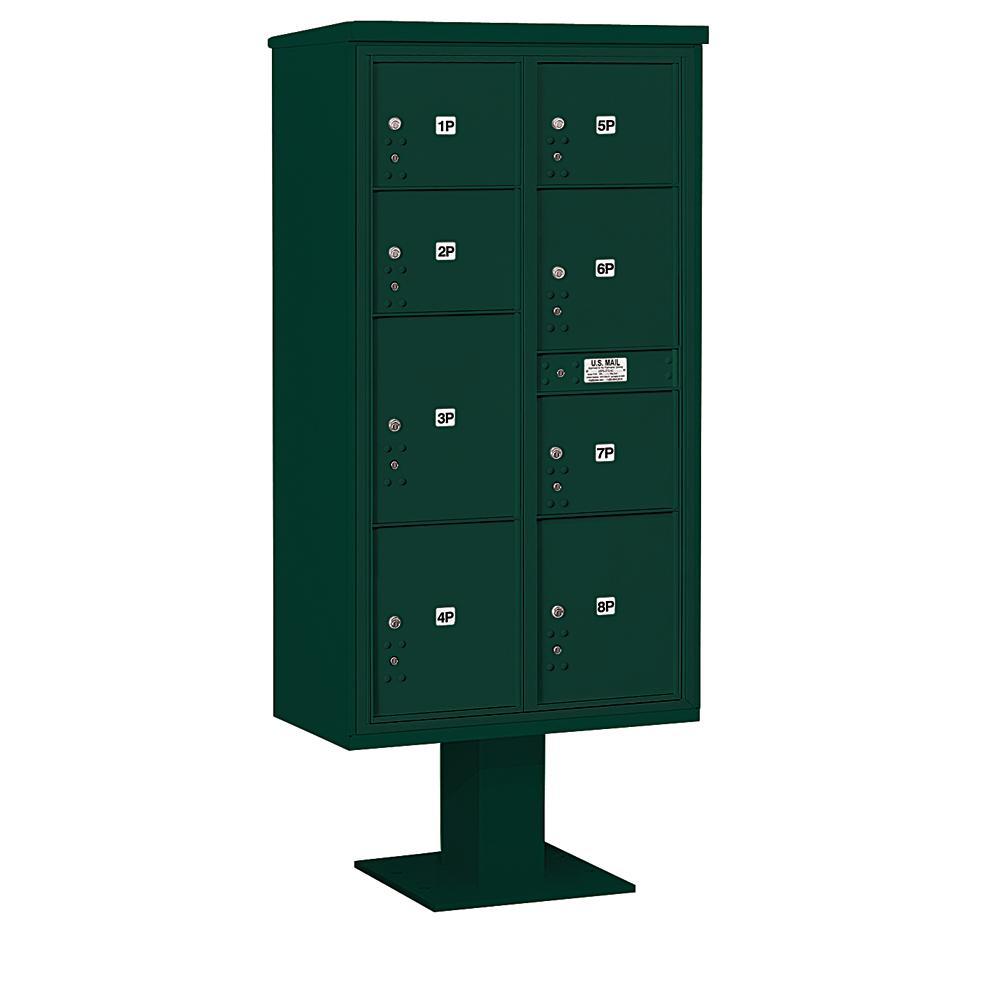 3400 Horizontal Series 8-Parcel Locker Pedestal Mount Mailbox