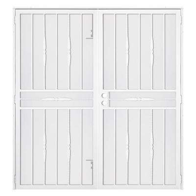60 in. x 80 in. Cottage Rose White Surface Mount Outswing Steel Security Double Door with Expanded Metal Screen