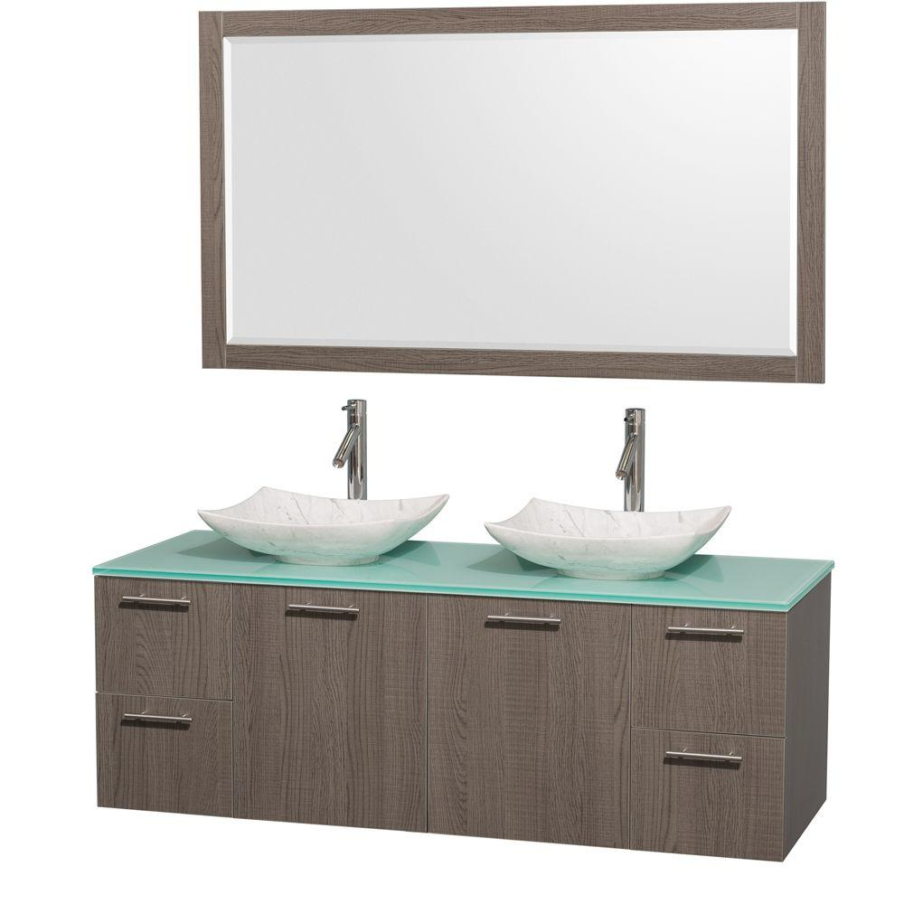 Wyndham Collection Amare 60 in. Double Vanity in Gray Oak with Glass Vanity Top in Green, Marble Sinks and 58 in. Mirror