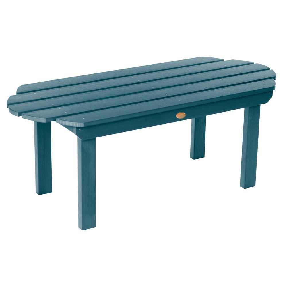 Nantucket Coffee Table.Highwood Classic Westport Nantucket Blue Rectangular Recycled Plastic Outdoor Coffee Table