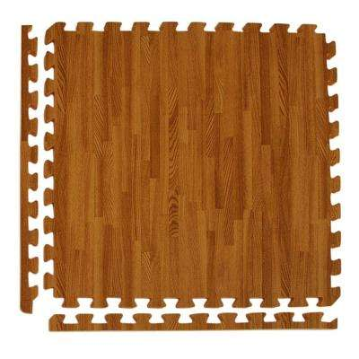 Wood Grain Reversible Dark Wood/Tan 24 in. x 24 in. x 0.5 in. Foam Interlocking Floor Tile (Case of 25)