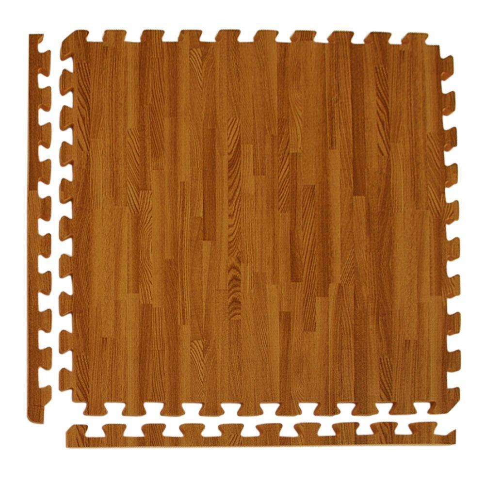 Wood Grain Reversible Dark Wood/Tan 24 in. x 24 in. x 0.5 in. Foam Interlocking Floor Tile (Case of 25)