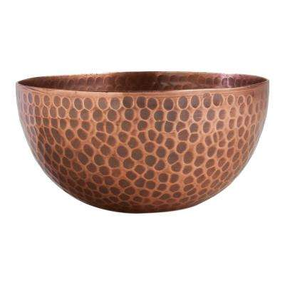 5-1/4 in. x 5-1/4 in. x 2-1/2 in. Hammered Copper Bowl