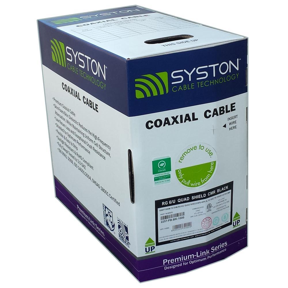 1000 ft. RG6U Quad Shield Black CMR Coaxial Cable