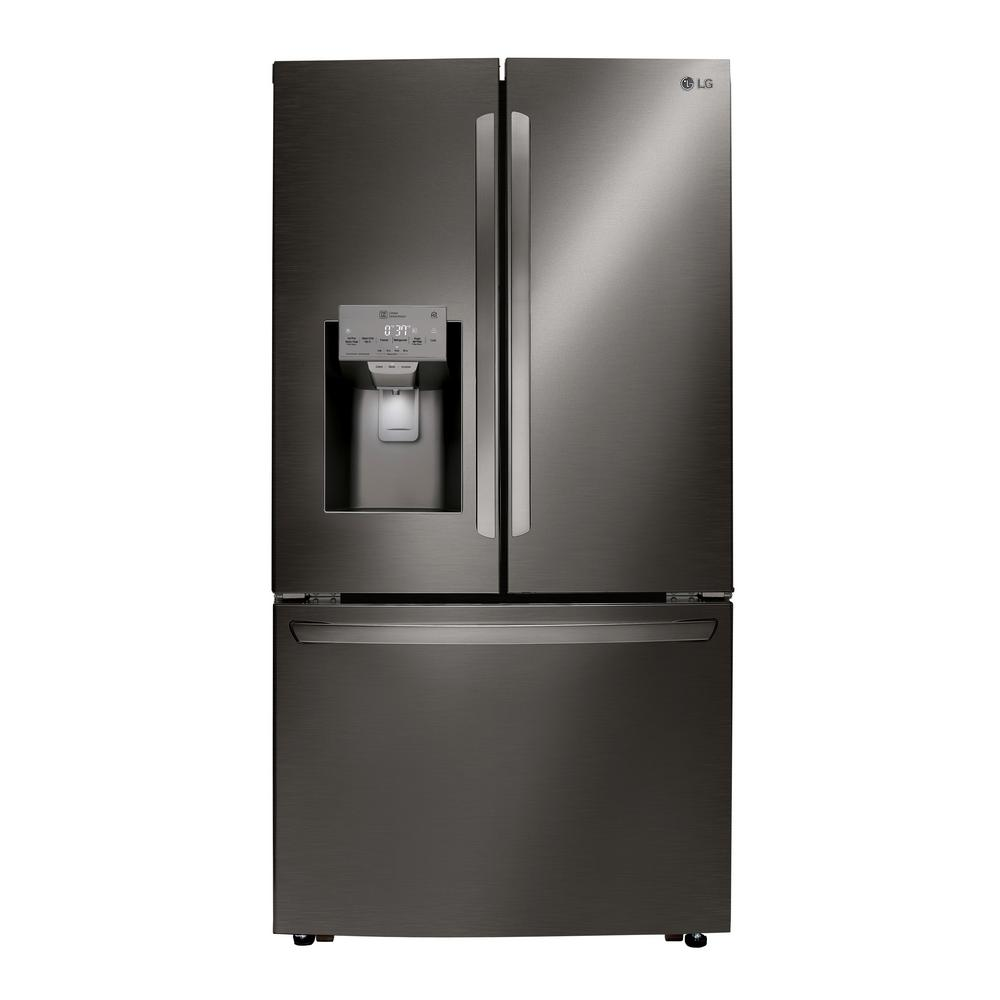 LG Electronics 24 cu. ft. French Door Refrigerator with Dual Ice and Wi-Fi Enabled in PrintProof Black Stainless Steel, Counter Depth