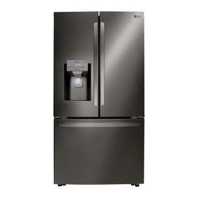 24 cu. ft. French Door Refrigerator with Dual Ice and Wi-Fi Enabled in PrintProof Black Stainless Steel, Counter Depth