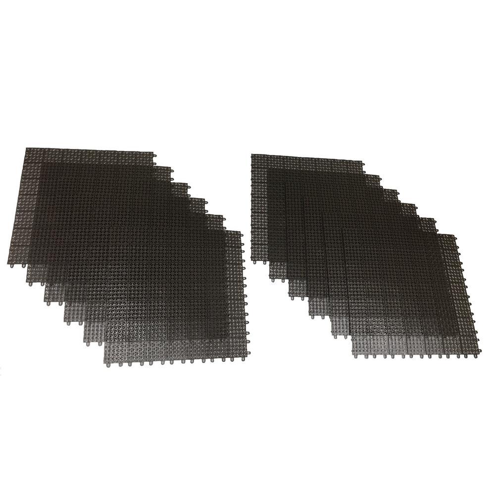 Brown Regenerated 22 in. x 22 in. Polypropylene Interlocking Floor Mat System (Set of 12 Tiles)