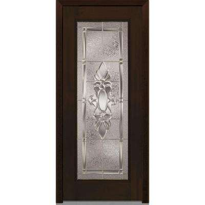 32 in. x 80 in. Heirloom Master Left-Hand Full Lite Decorative Classic Stained Fiberglass Mahogany Prehung Front Door