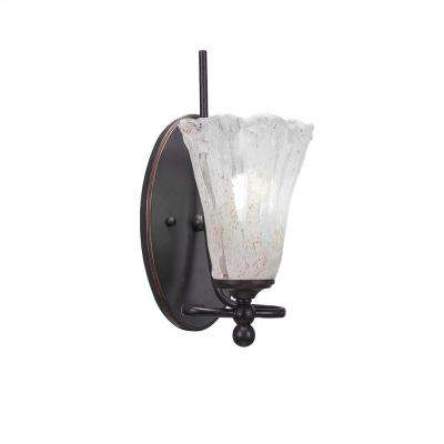 1-Light Dark Granite Sconce with Clear Seeded Glass