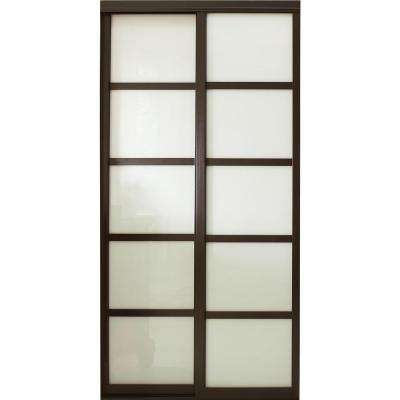 Charming Tranquility Glass Panels Back Painted Interior Sliding Door With Espresso  Wood Frame