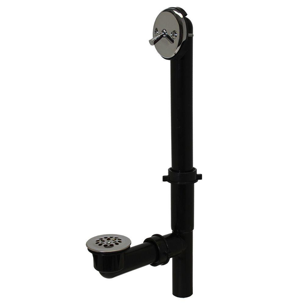 Trip Lever 1-1/2 in. Black Poly Pipe Bath Waste and Overflow