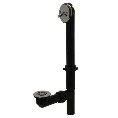 Trip Lever 1-1/2 in. Black Poly Pipe Bath Waste and Overflow Drain in Chrome
