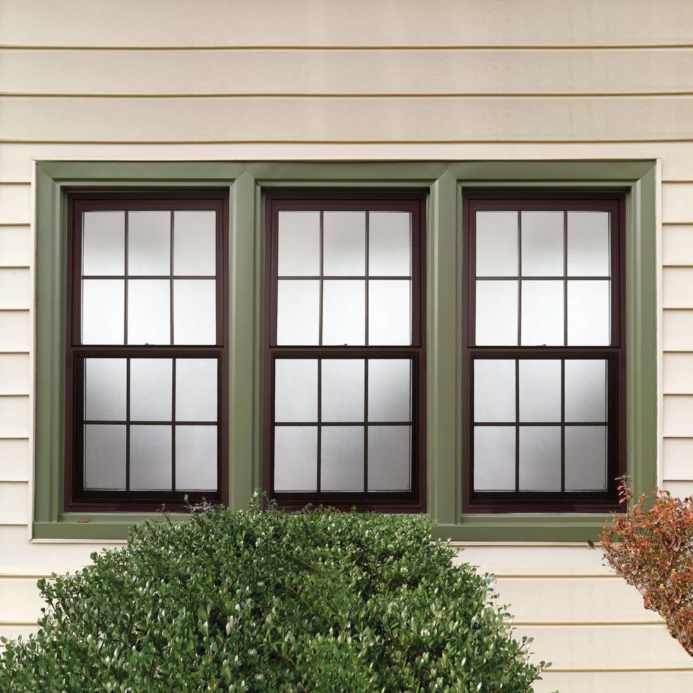 Tafco Windows 36 In X 48 In Double Hung Aluminum Window With Low E Glass Grids And Screen Brown