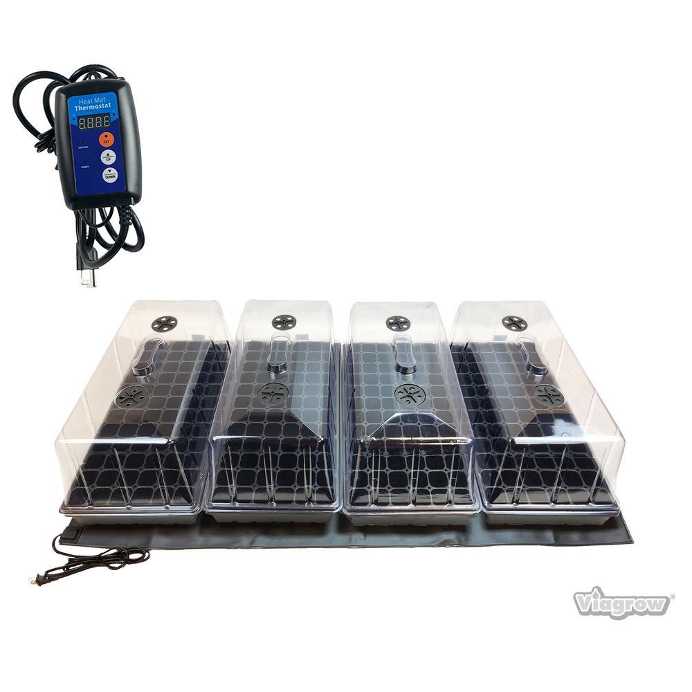 Quad Propagation Kit with Heat Mat, Flat Tray, Flat Insert, Tall Dome, Tray Heat Mat with Thermostat