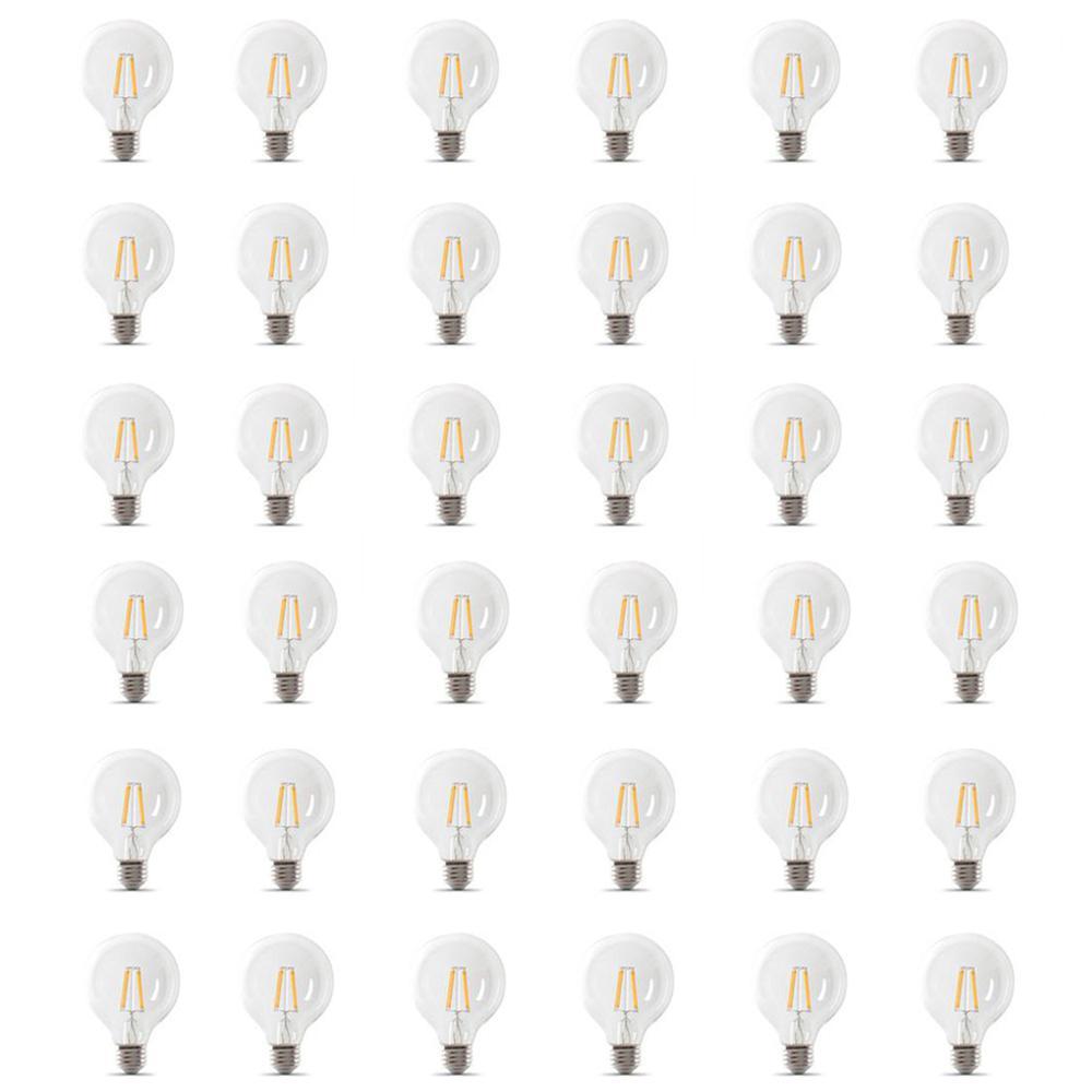 60-Watt Equivalent G25 Dimmable Filament ENERGY STAR Clear Glass LED Light Bulb, Soft White (36-Pack)