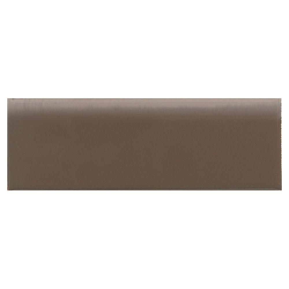 Daltile Modern Dimensions Gloss Artisan Brown 2-1/8 in. x 8-1/2 in. Ceramic Bullnose Wall Tile-DISCONTINUED
