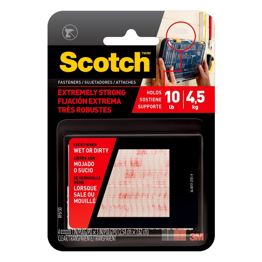 Scotch 1 in  x 3 in  Clear Extreme Fasteners (2-Sets per Pack)