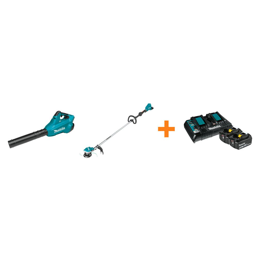 Makita 18V X2 LXT Blower and 18V X2 LXT String Trimmer with bonus 18V LXT Starter Pack was $757.95 now $488.0 (36.0% off)