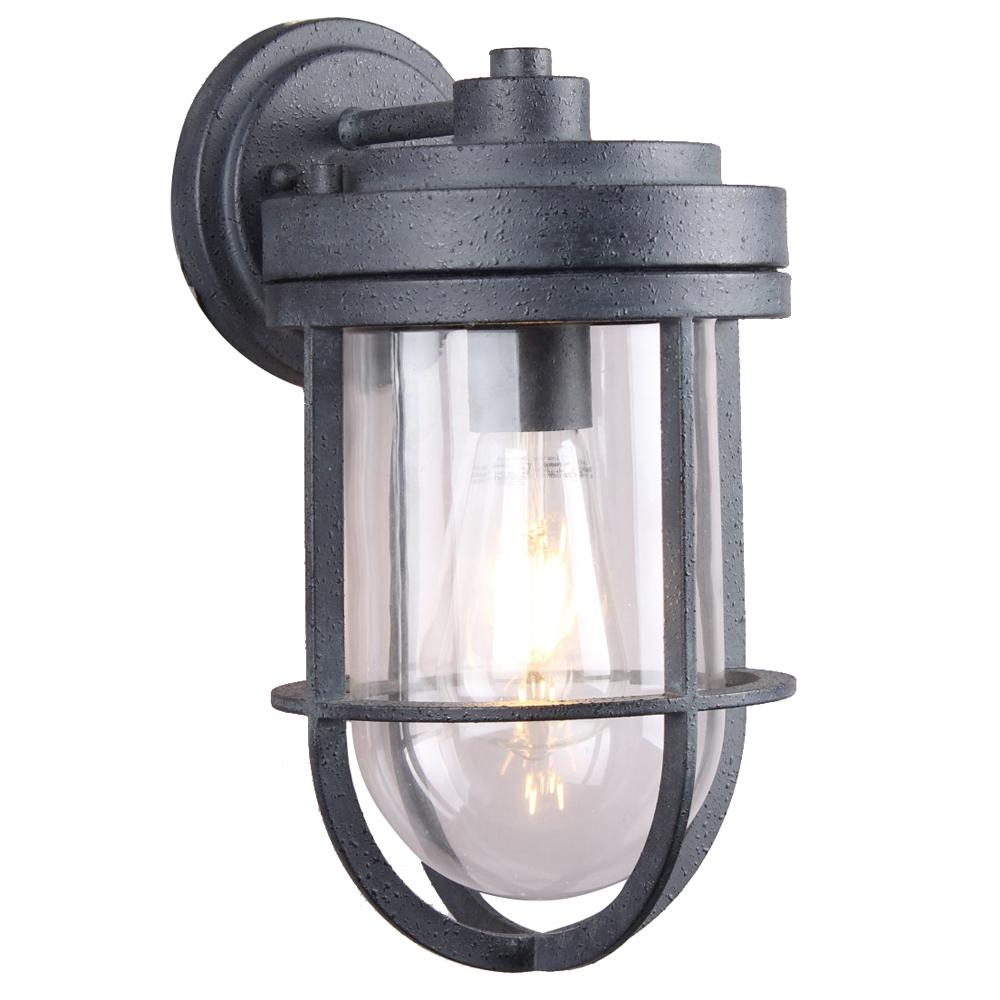 DSI 1-Light Weathered Zinc Clear Glass Outdoor Wall Mount Sconce with LED Bulb