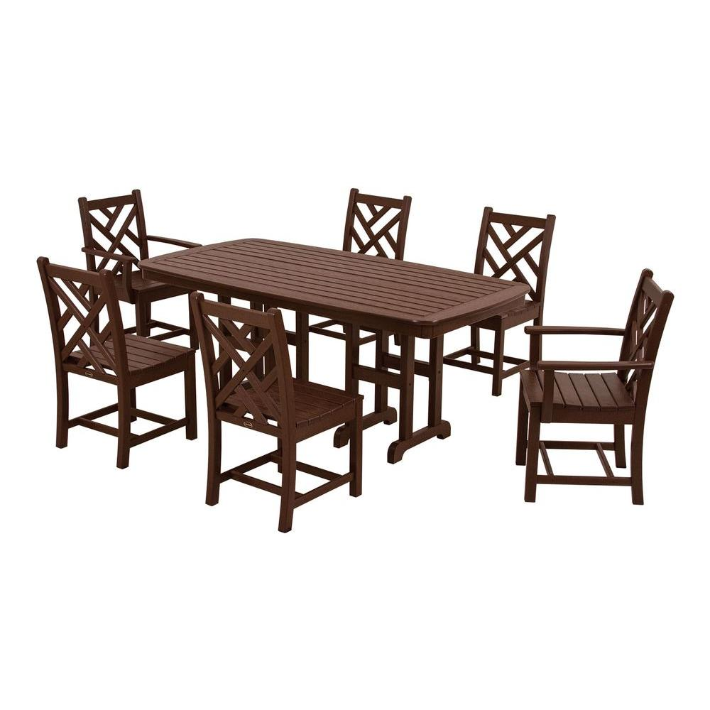 POLYWOOD Chippendale Mahogany 7-Piece Plastic Outdoor Patio Dining Set