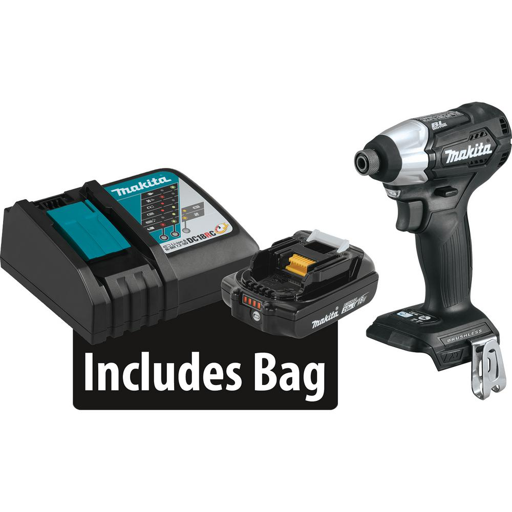 Makita 18-Volt LXT Lithium-Ion Sub-Compact Brushless Cordless Impact Driver Kit with (1) Battery 2.0Ah, Charger, and a Bag