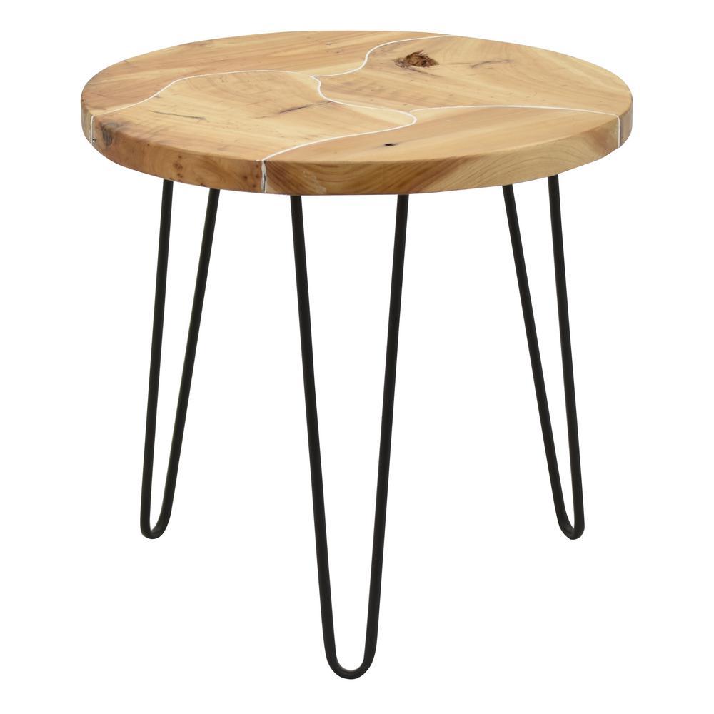 22.75 in. Brown Metal Table