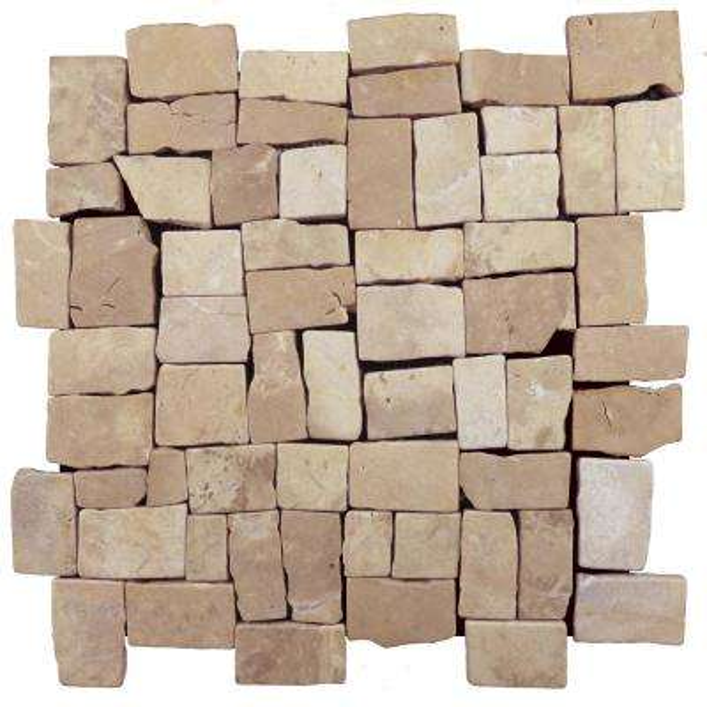 Block Tile Tan 11-3/4 in. x 11-3/4 in. x 9.5 mm Mesh-Mounted Mosaic Tile (10.67 sq. ft. / case)