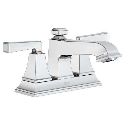 Town Square S 4 in. Centerset 2-Handle Bathroom Faucet with Red/Blue Indicators and Pop-Up Drain in Polished Chrome