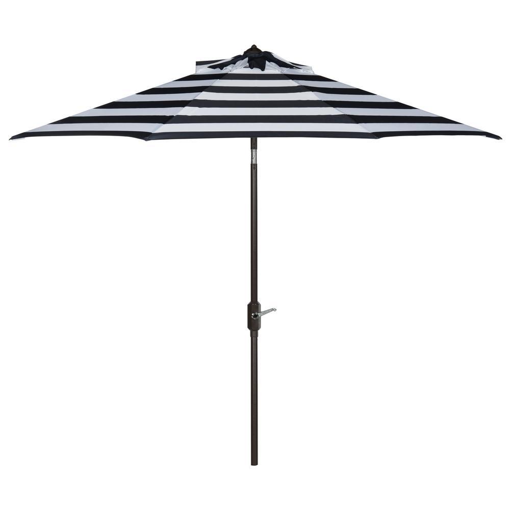 Iris 9 ft. Aluminum Market Auto Tilt Patio Umbrella in Navy/White