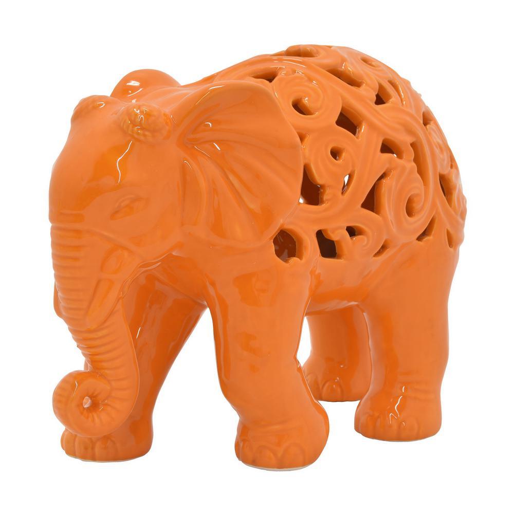 7.5 in. Ceramic Pierced Elephant in Orange