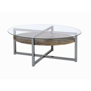 ACME Furniture Janette Weather Oak and Black Nickel Coffee Table by ACME Furniture