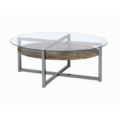 Merveilleux Janette Weather Oak And Black Nickel Coffee Table