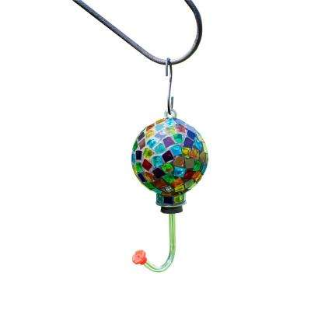 4 in. Colorful Mosaic Glass Hummingbird Feeder