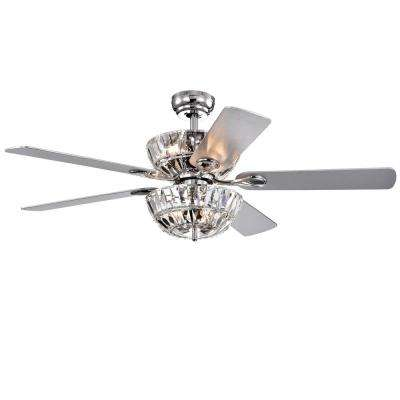 Senma Dual Lamp 52 in. Indoor Chrome Remote Controlled Ceiling Fan with Light Kit