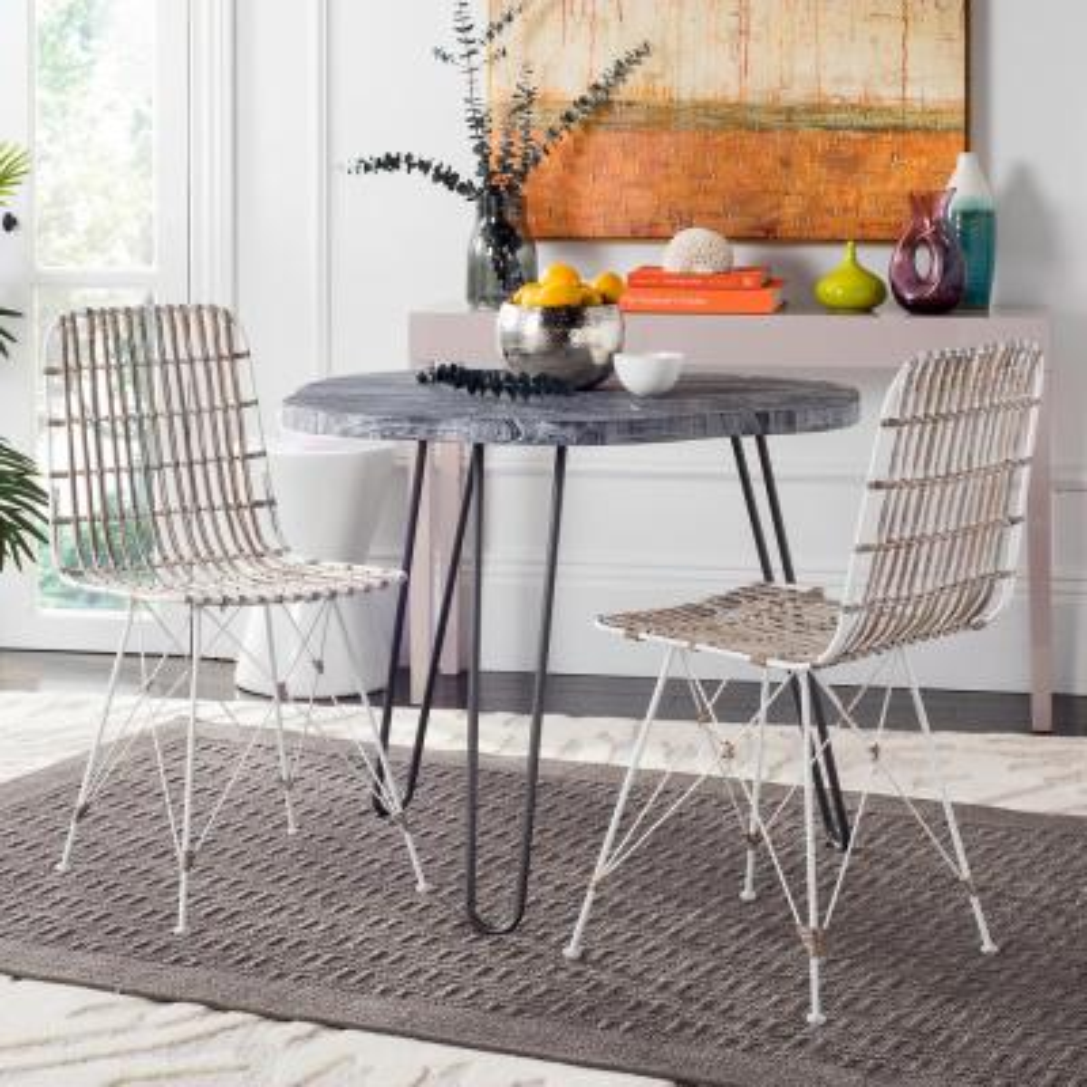 Minerva White Wash Wicker Dining Chair (Set of 2)