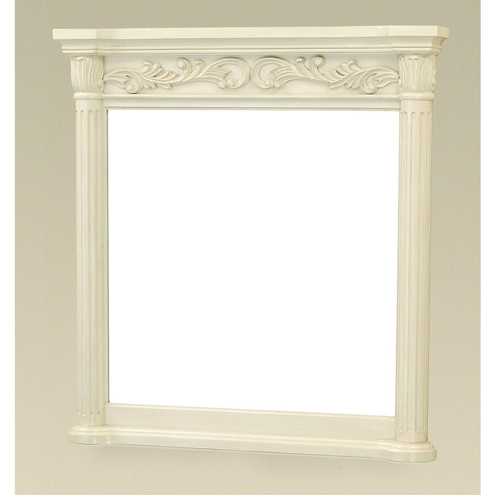 Pegasus Estates 38 in. x 36 in. Framed Wall Mirror in Antique Bisque-DISCONTINUED