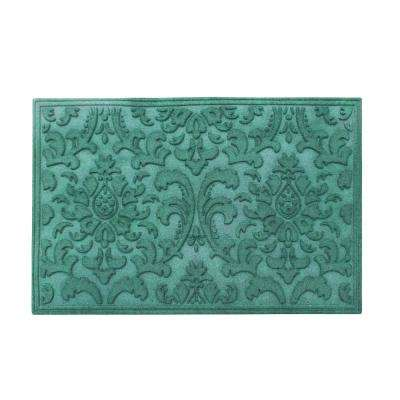 A1HC Brocade Green 24 in. x 36 in. Eco-Poly Scraper Mat with Anti-Slip Fabric Finish and Tire Crumb Backing