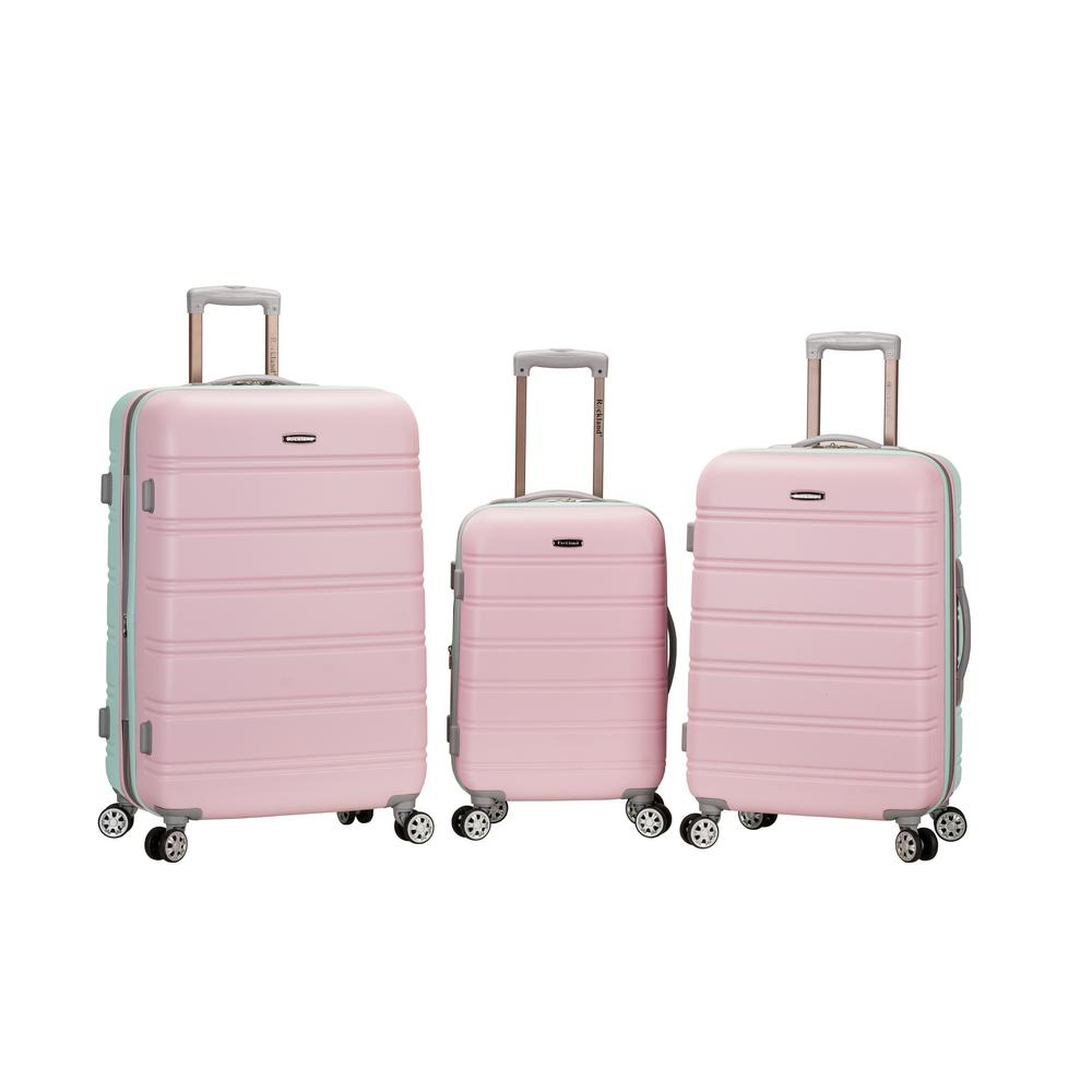 Rockland 3-Piece ABS Upright Set with Spinner Wheels Luggage, Pink and Mint was $490.0 now $245.0 (50.0% off)