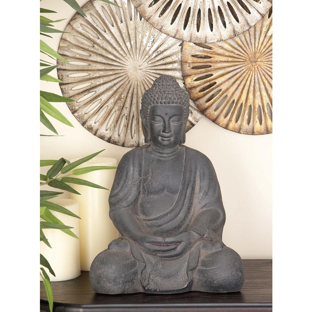 17 in. x 12 in. Decorative Buddha Sculpture in Colored Clay and Fiber